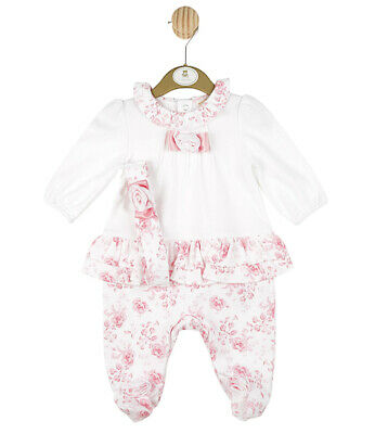 Mintini Baby Girl Pretty Pink Spanish Designer All In One Frill Romper Outfit