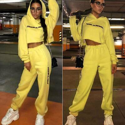 Women Sport Letter Print Tracksuit Long Sleeve Cropped Hoodie  + Jogger Pant Set