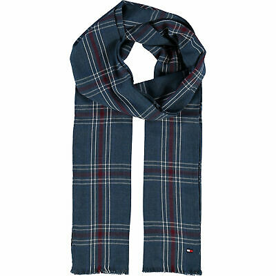 Tommy Hilfiger Mens Lightweight Cotton Check Plaid Wide Neck Fringed Scarf
