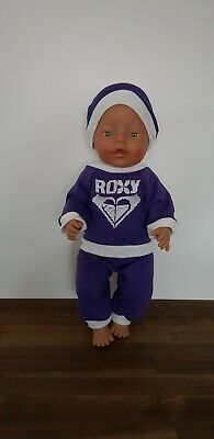 "New Cute Purple Tracksuit Dolls Clothes To Fit Baby Born Or 17"" Doll"