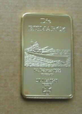THE BISMARCK Gold plated commemorative INGOT BAR in capsule