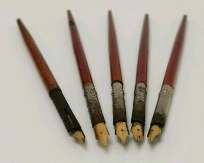 Vtg c1900 Eagle Pencil Co 5X Wooden Handled Dip Pens & 18ct Gold Plated Nibs