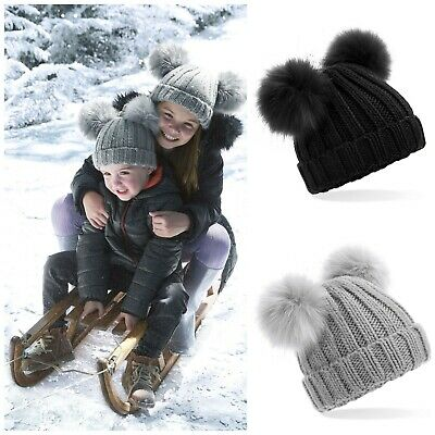 Childrens Double Two Pom Pom Bobble Beanie Hat Warm Winter Kids Child Boys Girls
