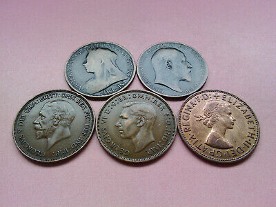 5 UK Monarch Coins One Penny Collection Set Bulk Lot Year 1897 to 1967 (T1297)