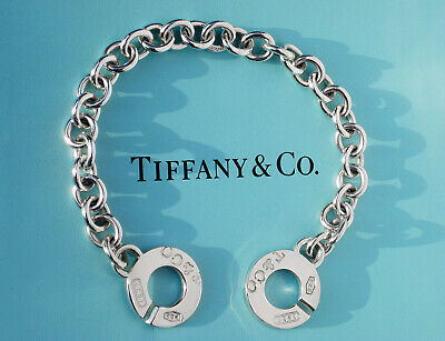 Tiffany & Co 1837 Sterling Silver Circle Clasp Charm Bracelet