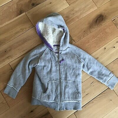 Mini Boden Grey Sherpa Lined Hoodie Age 3-4