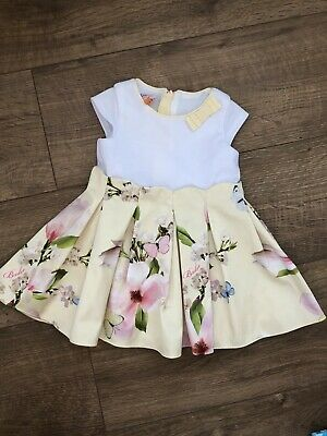 Ted Baker Baby Girls Floral White Yellow Dress Size 6-9 Months