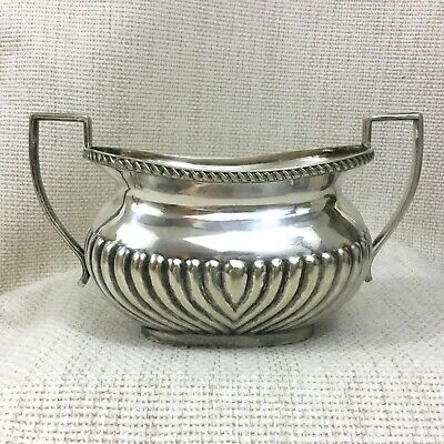 Antique Silver Plated Sugar Bowl Large Twin Handled Half Ribbed Victorian