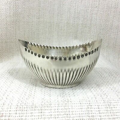 Antique Silver Plated Sugar Bowl Large Boat Slipper Shape Half Ribbed Victorian