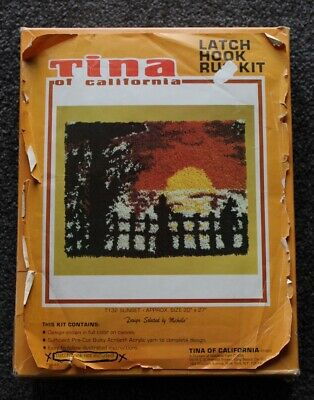 Vintage Tina Of California Latch Hook Rug Kit T1 32 Sunset 20 X 27