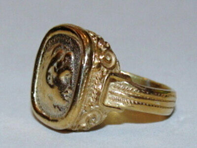 14 kt Gold Vermeil over Sterling Silver Alexander the Great Etruscan Style Cameo