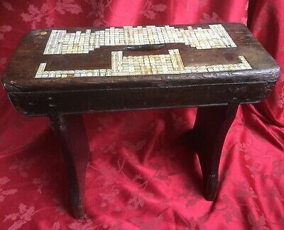 Unique Antique Oak Stool With Inset Dice In The Silhouette Of Charlecote Hall