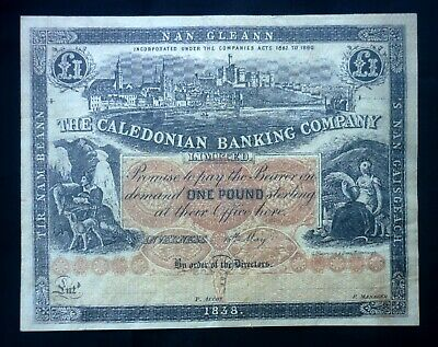 Scotland: Scottish Banknote Caledonian Banking Company Limited One Pound Note.