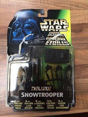 Rare Star Wars Power of the Force 2 Deluxe Snowtrooper Figure on Opened Card