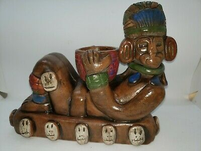 Pre Colombian Chacmool Aztec Maya Reproduction rain god Mexican clay pottery #3