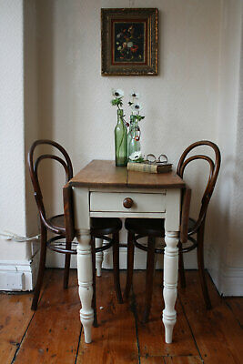 Country Farmhouse Kitchen Rustic Restored Linen Vintage Pine Drop Leaf Table