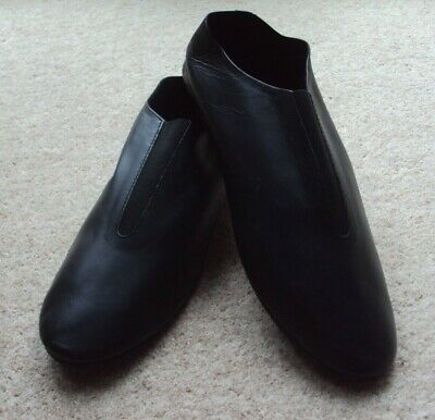 Jazz Shoes Adult Size 9 Slip On Black Leather Full Rubber Sole Dance Stage NEW