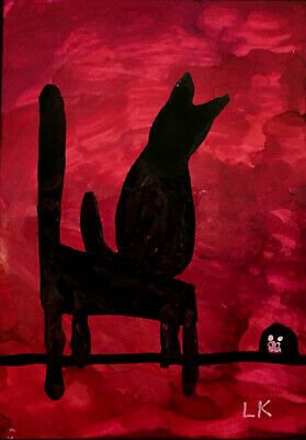 """ACEO black Cat chair mouse in hole Original painting by Lynne Kohler 2.5x3.5"""""""