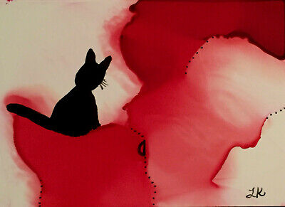 """ACEO black Cat red background Original painting by Lynne Kohler 2.5x3.5"""""""