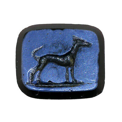 (2658) Antique Obsidian or Glass Seal depicting a dog.
