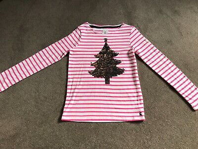 Joules girls Christmas tree top with reversible silver/pink sequins - age 11-12