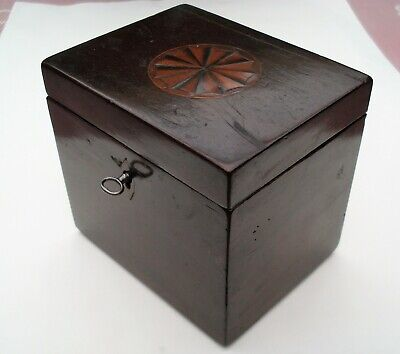 Antique English Georgian fan Inlaid mahogany Double Playing Card Box with key