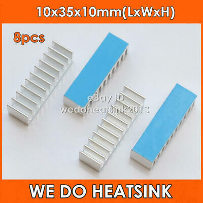8pcs Extruded 10x35x10mm Aluminum Heatsink Heatsinks With Thermal Tape
