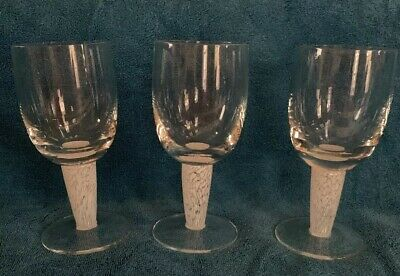 Set of 3 Blown Art Glass Water Wine Goblets Clear Bowl White Swirl Thick Stem
