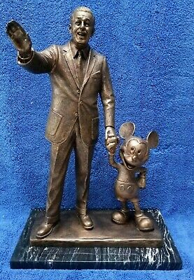 "Walt Disney & Mickey Mouse Statue - 15"" High Bronze Finish - Parks exclusive."