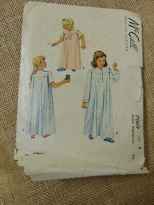 Vtg McCall's Child's Nightgown Sewing Pattern Sz 2 #7069 Vtg 1947