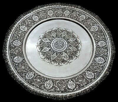 Fine Antique Middle Eastern Islamic Persian Style Solid Silver Signed Tray 280g