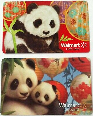 2 x Walmart Supermarket Vintage Panda Gift Cards Collectible $0 No Value Lot New