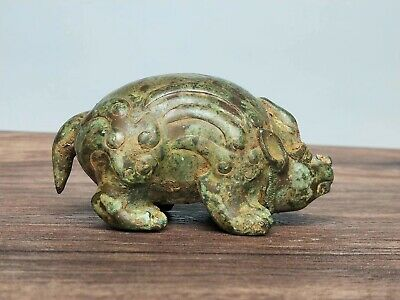 China Ancient WarringStates Period Tomb-guarding Beasts Statue Bronze Ornament 2