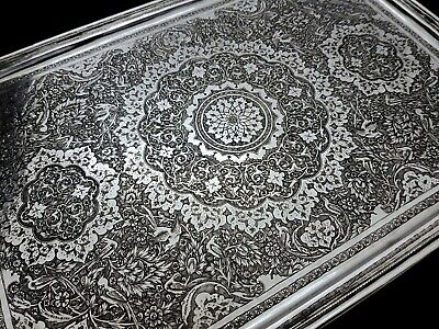 Fine Antique Middle Eastern Islamic Persian Style Solid Silver Signed Tray 679g