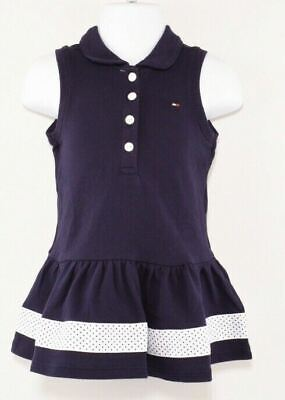 TOMMY HILFIGER Baby Girls' Navy Blue Sleeveless Polo Dress, 12 18 24 months
