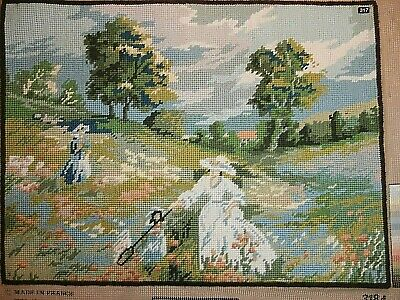 Completed Tapestry Ladies in Meadow Trees scenery