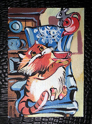 "Original art by Bastet ""Cat and Mouse Drink Tea"" OOAK hand painted ACEO"