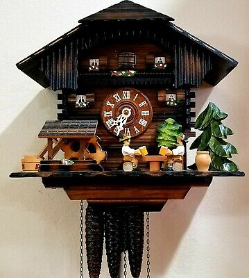 Beautiful Schneider Sohne Beer Drinker 1 day musical anumated Cuckoo Clock