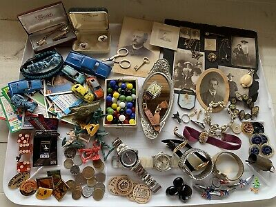 Antique Vintage Junk Drawer Lot Toys, Watches, Coins, Photos Jewelry & Much More