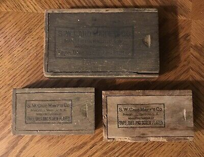 3 Antique S.W. Card MFG Co. Wooden Boxes Lot Tap Die Screw Plates Mansfield MA