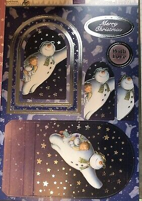 Foiled Luxury Christmas Kit THE SNOWMAN A4 Card Making Die-cuts Toppers SET