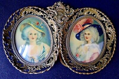 Antique French19th Century Signed M. LIOR Portrait Miniature Paintings of Ladies