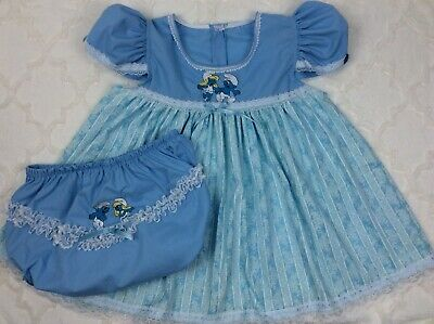 Adult Sissy Baby Blue Embroidered Smurf White Lace Dress And Diaper Cover Set
