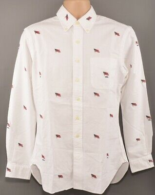POLO RALPH LAUREN Men's Slim Fit All-Over Flag Embroidery Shirt, White, size M