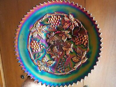 Northwood Carnival Glass Electric Amethyst Grape and Cable Variant Plate