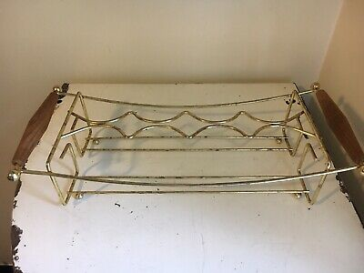 Vintage Drink Carrier Caddy Holds 8 Glasses Metal And Wood Handles Mid Century