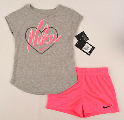 NIKE Girls' 2pc Outfit Set, Neon Pink Shorts and Grey Top, size 5-6 years