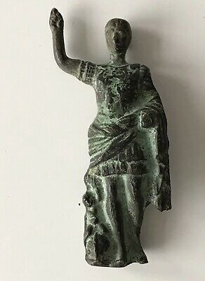 Antique Small Roman Bronze Brass ? Figure Hail Julius Caesar Statue