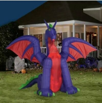 11 FT ANIMATED FIRE AND ICE DRAGON  Airblown Lighted Yard Inflatable