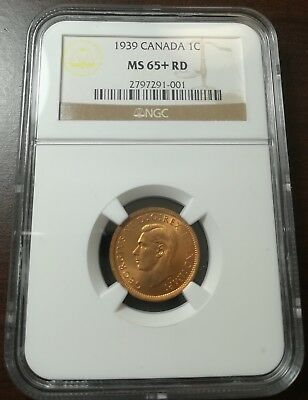 1939 Canada 1 Cent Penny Ngc Ms65+ Rd Finest